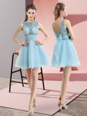 Hot Sale Aqua Blue Sleeveless Mini Length Beading and Belt Backless Dress for Prom