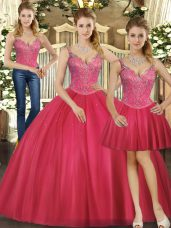 Artistic Hot Pink Three Pieces Beading Quinceanera Gown Lace Up Tulle Sleeveless Floor Length