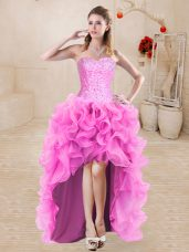 Fine High Low Rose Pink Homecoming Dress Organza Sleeveless Beading and Ruffles