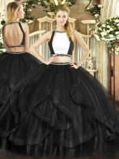 Most Popular Black Sleeveless Floor Length Ruffles Backless Quinceanera Gown