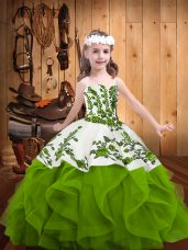 Olive Green Sleeveless Embroidery and Ruffles Floor Length Kids Formal Wear