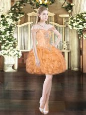Off The Shoulder Sleeveless Lace Up Evening Dress Orange Red Organza