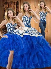 New Arrival Satin and Organza Sweetheart Sleeveless Lace Up Embroidery and Ruffles Sweet 16 Dress in Blue