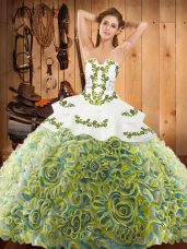 Multi-color Ball Gown Prom Dress Military Ball and Sweet 16 and Quinceanera with Embroidery Strapless Sleeveless Sweep Train Lace Up