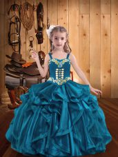 Attractive Straps Sleeveless Organza Pageant Dress for Teens Embroidery and Ruffles Lace Up