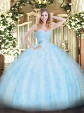 Traditional Light Blue Sweet 16 Quinceanera Dress Military Ball and Sweet 16 and Quinceanera with Beading and Ruffles Sweetheart Sleeveless Lace Up