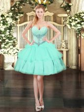 Edgy Sweetheart Sleeveless Lace Up Prom Party Dress Apple Green Organza