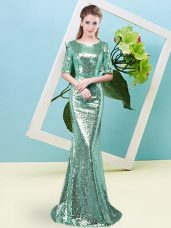 Cheap Half Sleeves Sequined Floor Length Zipper Prom Evening Gown in Turquoise with Sequins