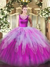 Superior Multi-color Sweet 16 Dress Sweet 16 and Quinceanera with Beading and Ruffles Scoop Sleeveless Side Zipper