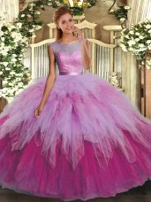 Cute Sleeveless Tulle Floor Length Backless Quinceanera Gowns in Multi-color with Ruffles