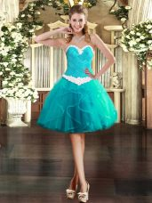 Mini Length Ball Gowns Sleeveless Aqua Blue Homecoming Dress Lace Up