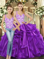 Eggplant Purple Sleeveless Tulle Lace Up 15th Birthday Dress for Military Ball and Sweet 16 and Quinceanera