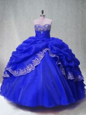 Floor Length Royal Blue Quinceanera Gown Sweetheart Sleeveless Lace Up