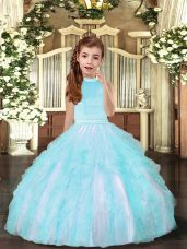 Aqua Blue Sleeveless Tulle Backless Winning Pageant Gowns for Party and Sweet 16 and Wedding Party