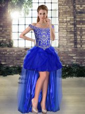 Discount High Low A-line Sleeveless Royal Blue Prom Dresses Lace Up