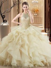 Hot Sale Champagne Halter Top Beading and Ruffles Ball Gown Prom Dress Brush Train Sleeveless