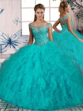 Beading and Ruffles Quinceanera Dress Aqua Blue Lace Up Sleeveless Brush Train