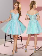 Modest Tulle Sleeveless Mini Length Dama Dress for Quinceanera and Lace