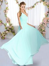Floor Length Blue Wedding Guest Dresses Chiffon Sleeveless Ruching