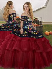 Comfortable Wine Red Ball Gowns Embroidery and Ruffled Layers Sweet 16 Dresses Lace Up Tulle Sleeveless