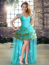 A-line Prom Dresses Aqua Blue Off The Shoulder Organza Sleeveless High Low Lace Up
