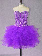 Mini Length Purple Dress for Prom Sweetheart Sleeveless Lace Up
