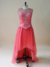 Best Selling Sleeveless Beading Prom Evening Gown with Coral Red