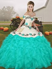 Sleeveless Floor Length Embroidery and Ruffles Lace Up 15th Birthday Dress with Turquoise