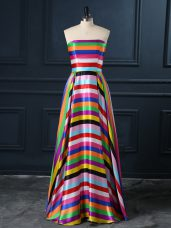 Multi-color Printed Zipper Strapless Sleeveless Floor Length Homecoming Dress Ruching