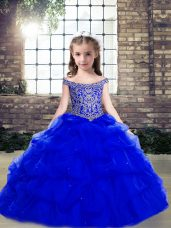 Royal Blue Ball Gowns Beading and Pick Ups Kids Formal Wear Lace Up Organza Sleeveless Floor Length