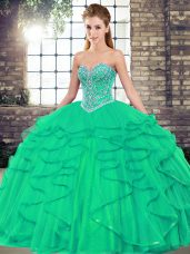 Custom Design Turquoise Sweet 16 Dress Military Ball and Sweet 16 and Quinceanera with Beading and Ruffles Sweetheart Sleeveless Lace Up