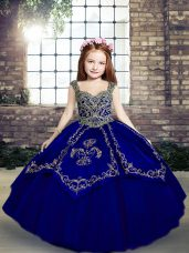 Enchanting Floor Length Ball Gowns Sleeveless Royal Blue Glitz Pageant Dress Lace Up