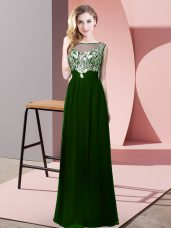 Dark Green Prom and Party and Military Ball with Beading Scoop Sleeveless Backless