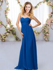 Royal Blue Criss Cross Sweetheart Beading Bridesmaids Dress Chiffon Sleeveless