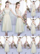 Champagne Empire Scoop Sleeveless Tulle Tea Length Lace Up Lace and Belt Dama Dress for Quinceanera