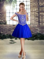 Royal Blue Off The Shoulder Lace Up Beading Prom Dress Sleeveless