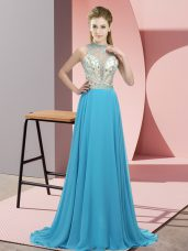 Empire Sleeveless Aqua Blue Brush Train Backless