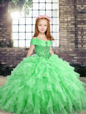 Organza Sleeveless Floor Length Kids Formal Wear and Beading and Ruffles