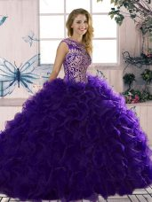 Purple Sleeveless Beading and Ruffles Floor Length Quince Ball Gowns