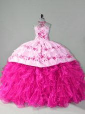 Hot Pink Sleeveless Organza Court Train Lace Up 15th Birthday Dress for Sweet 16 and Quinceanera