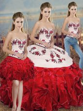 Sleeveless Organza Floor Length Lace Up Vestidos de Quinceanera in White And Red with Embroidery and Ruffles and Bowknot