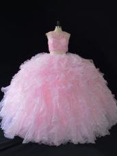 Popular Scoop Sleeveless Zipper 15 Quinceanera Dress Baby Pink Organza