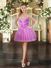 Smart Lilac Tulle Lace Up Sweetheart Sleeveless Mini Length Evening Dress Beading and Appliques
