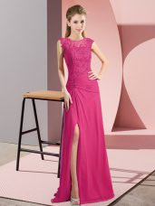 Beauteous Hot Pink Sleeveless Chiffon Zipper Mother Of The Bride Dress for Prom and Party and Military Ball