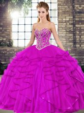 Customized Sweetheart Sleeveless Lace Up 15th Birthday Dress Fuchsia Tulle