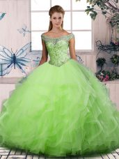 Dazzling Ball Gowns Tulle Off The Shoulder Sleeveless Beading and Ruffles Floor Length Lace Up Quinceanera Gowns