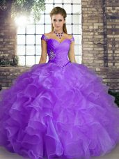 Traditional Ball Gowns 15 Quinceanera Dress Lavender Off The Shoulder Organza Sleeveless Floor Length Lace Up