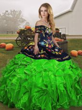 Exceptional Off The Shoulder Sleeveless Organza Ball Gown Prom Dress Embroidery and Ruffles Lace Up