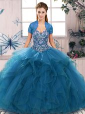 Blue Ball Gowns Beading and Ruffles 15 Quinceanera Dress Lace Up Tulle Sleeveless Floor Length