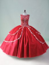 Red Ball Gown Prom Dress Sweet 16 and Quinceanera with Beading and Appliques Scoop Sleeveless Zipper